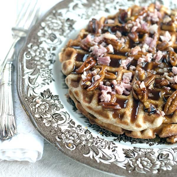 Waffles with Ham and Pecan Praline Syrup - Waffles baked with ham right in the batter and topped with delicious pecan praline syrup. From @NevrEnoughThyme http://www.lanascooking.com/waffles-ham-pecan-praline-syrup