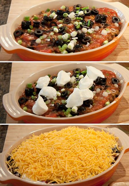 Layering Bean Burrito Dip