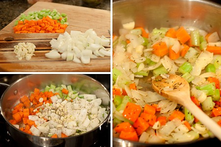 Prepping Vegetables for Slow Cooker White Beans with Smoked Ham Hocks
