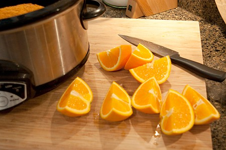 Cut oranges into chunks