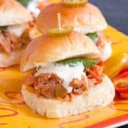 Southwest Pulled Pork Sliders from the Slow Cooker will be a game day favorite. They're made with slow cooked pulled pork seasoned with southwest flavors. https://www.lanascooking.com/southwest-pulled-pork-sliders-slow-cooker