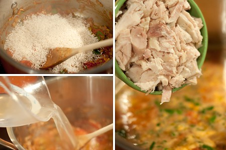 Add rice, stock, and chicken to Spanish Rice and Chicken Soup