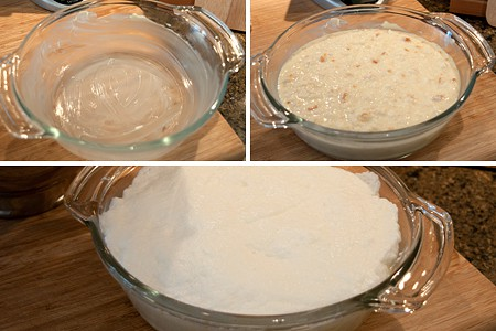 Transfer biscuit pudding to a baking dish