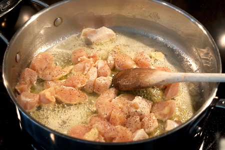 Cooking Chicken For Chicken Leek And Mushroom Pie