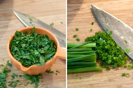 Prepping herbs for Green Goddess Dressing
