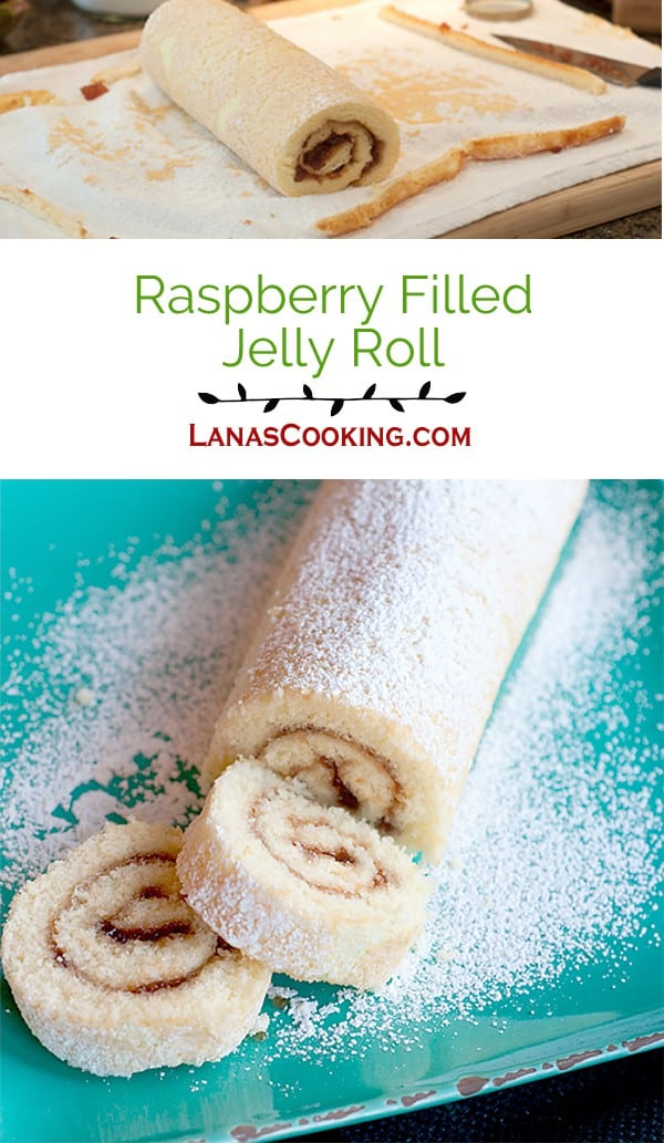 Raspberry Filled Jelly Roll - rolled and filled sponge cake sprinkled with powdered sugar. From @NevrEnoughThyme http://www.lanascooking.com/raspberry-filled-jelly-roll/