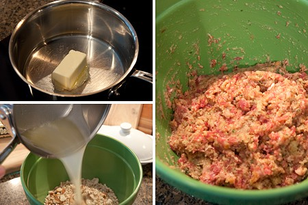 Photo collage illustrating the making of the sausage and stuffing mixture