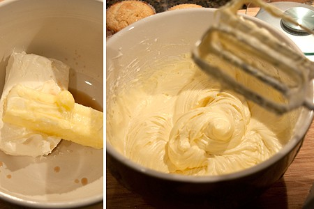Mixing ingredients for the cream cheese frosting.