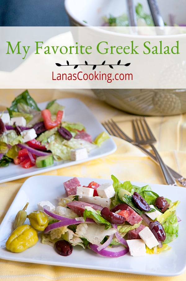 A delicious Greek salad with salami and a fresh, tangy dressing. Great for lunch, brunch, or dinner. Serve with some crusty bread for a complete meal. From @NevrEnoughThyme https://www.lanascooking.com/spring-cleaning-kitchen-favorite-greek-salad/