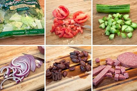 Prepping ingredients for Favorite Greek Salad