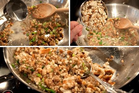 Add wine and stuffing mix to Pecan Stuffed Mushrooms