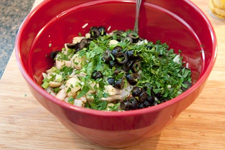Mix the Shrimp and Rice Salad