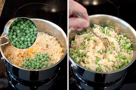 Add the peas to the rice for Shrimp and Rice Salad