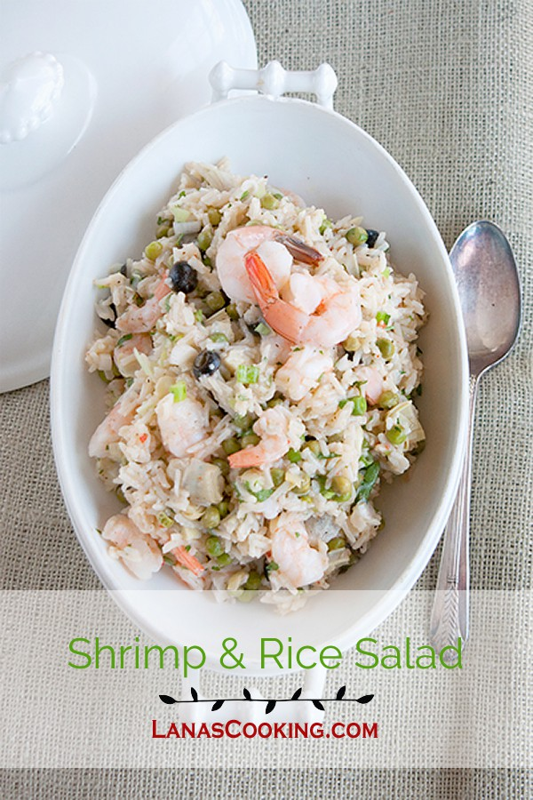 Shrimp and Rice Salad - a delicious supper salad with rice, shrimp, artichoke hearts, and black olives. From @NevrEnoughThyme https://www.lanascooking.com/shrimp-rice-salad