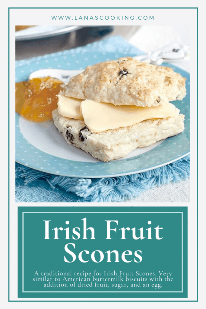 A traditional recipe for Irish Fruit Scones. Very similar to American buttermilk biscuits with the addition of dried fruit, sugar, and an egg. From @NevrEnoughThyme https://www.lanascooking.com/fruit-scones/