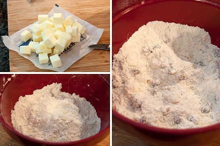 Cut butter into dry mixture for Irish Fruit Scones