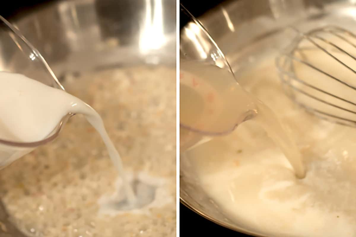 Pouring milk into shallot and flour in a skillet to make a cream sauce
