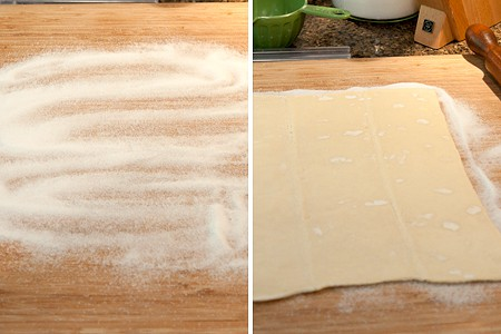 Roll the puff pastry in sugar for Lemon Basil Palmiers
