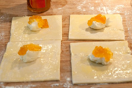 Add cream cheese and peach preserves for Easy Peach Turnovers
