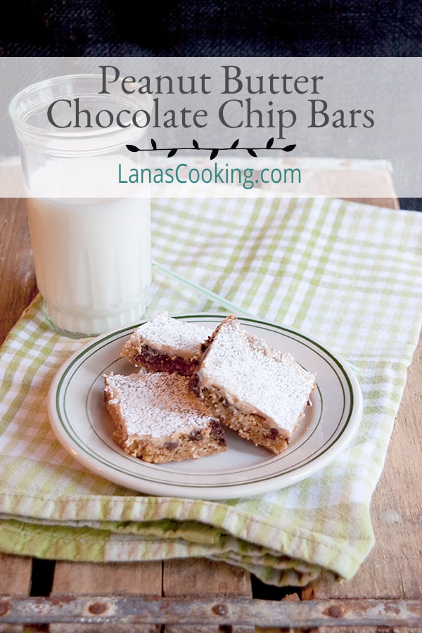 These easy to make, old fashioned Peanut Butter Chocolate Chip Bars with the texture of brownies are always a hit with grandkids. And grandparents, too! From @NevrEnoughThyme https://www.lanascooking.com/peanut-butter-chocolate-chip-bars/