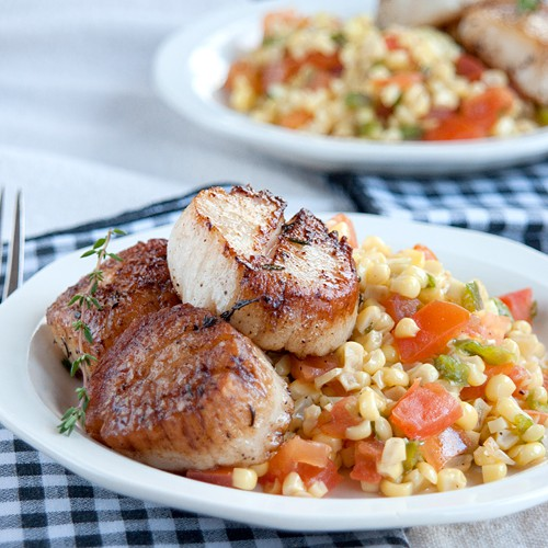Sweet Corn Salad with Seared Sea Scallops