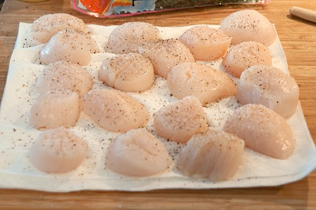 Dry scallops for Sweet Corn Salad with Seared Sea Scallops