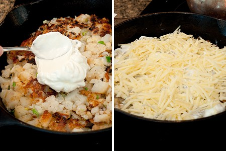 Adding sour cream and Gruyere to top of cooked potato mixture.