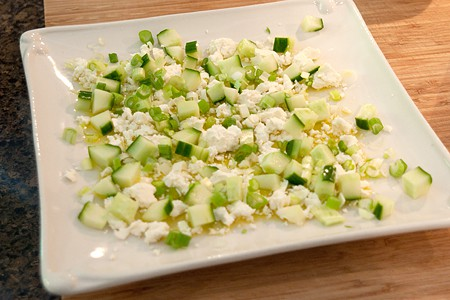 Add cucumber and onions to My Big Fat Greek Appetizer