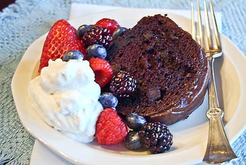Berry Glazed Chocolate Cake