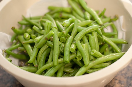 Prep beans for Old Fashioned Southern Green Beans