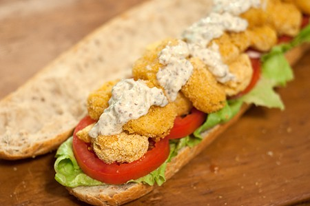 Assembling Oven Fried Shrimp Po' Boy