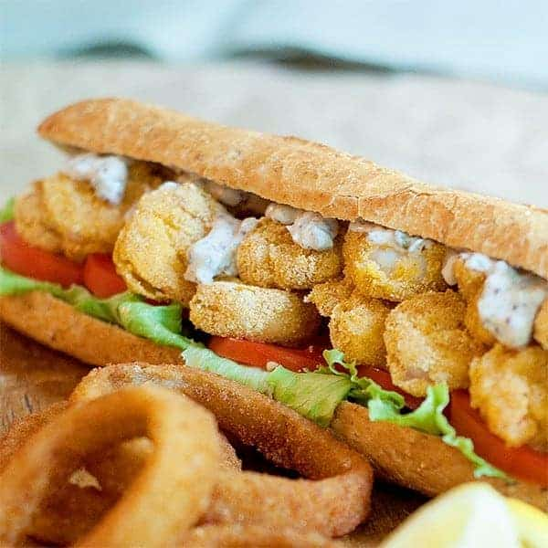 Oven Fried Shrimp Po' Boy - A classic New Orleans Shrimp Po' Boy made a little lighter by oven frying the shrimp. A grand Southern treat! From @NevrEnoughThyme http://www.lanascooking.com/oven-fried-shrimp-po-boy