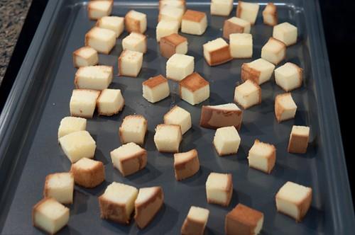 Lightly toasted pound cake for Pear and Caramel Yogurt Trifle