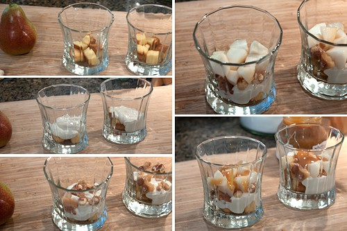 Creating layers for Pear and Caramel Yogurt Trifle
