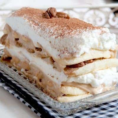 "Cappuccino Yogurt Tiramisu - an easy ""tiramisu"" recipe using cappuccino yogurt in place of the classic mascarpone. From @NevrEnoughThyme https://www.lanascooking.com/cappuccino-yogurt-tiramisu-recipe/"