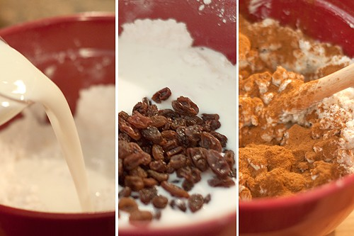 Adding buttermilk, raisins, and cinnamon to flour-butter mixture in a mixing bowl.