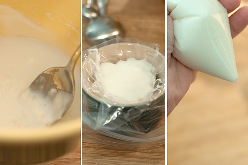 Photo collage showing the mixing of the sugar glaze.