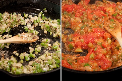 Cook the veggies and tomatoes for Creole Style Smothered Chicken