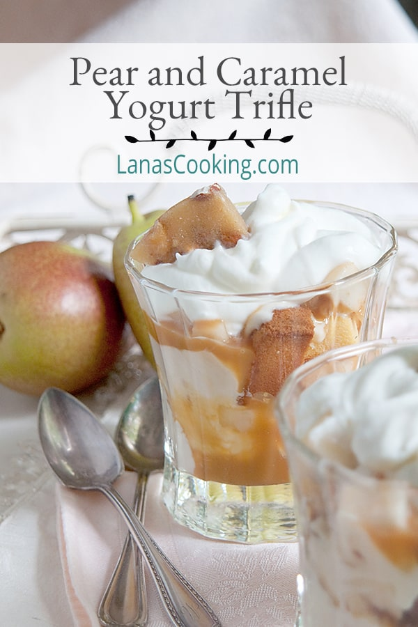 This Pear and Caramel Yogurt Trifle combines layers of pound cake with caramel yogurt, fresh pears, peanut brittle, and caramel sauce. From @NevrEnoughThyme https://www.lanascooking.com/pear-caramel-yogurt-trifle-recipe/