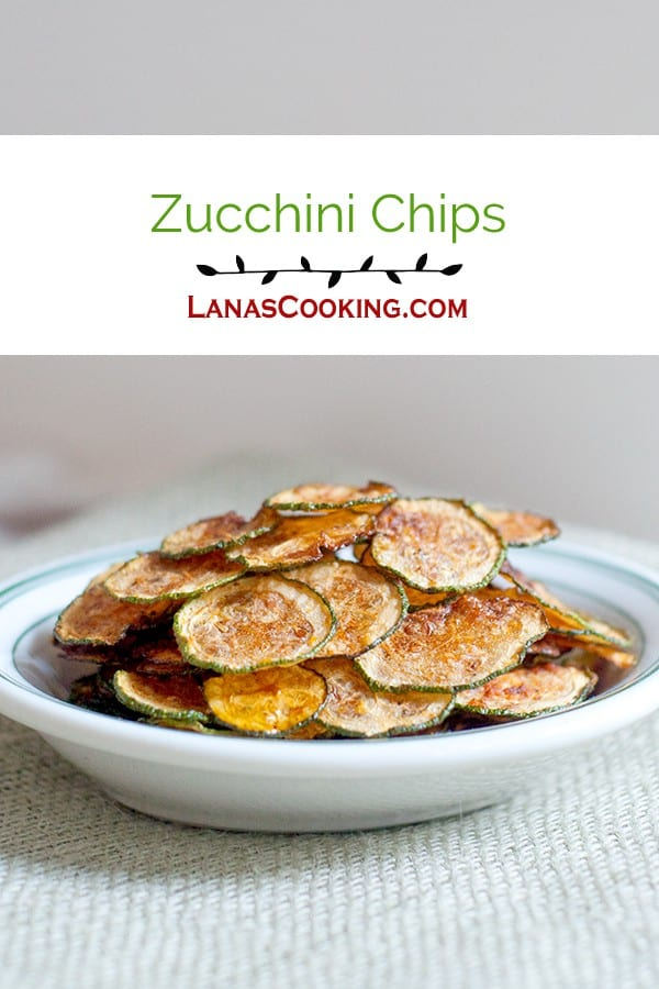 Zucchini Chips - Crispy, crunchy zucchini chips! Great alternative to potato chips. From @NevrEnoughThyme http://www.lanascooking.com/zucchini-chips