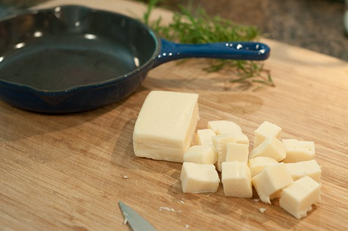Cube the cheese for Baked Fontina