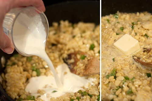 Adding the cream and butter to the skillet
