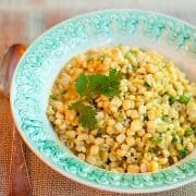 This recipe for Curried Corn combines fresh corn kernels with butter, cream, curry, and cilantro in an old, traditional deep south dish. Great for cookouts or dinner parties. https://www.lanascooking.com/curried-corn/