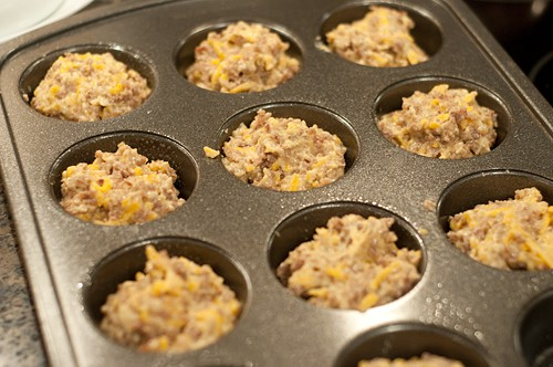 Fill muffin cups for Easy Sausage Muffins