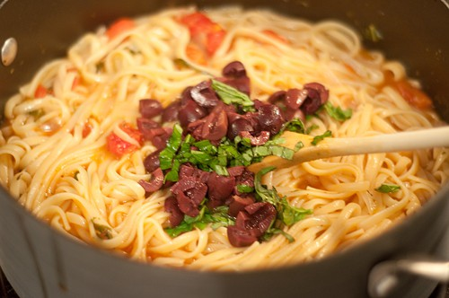 Stir in olives and basil for One Pot Pasta Dinner