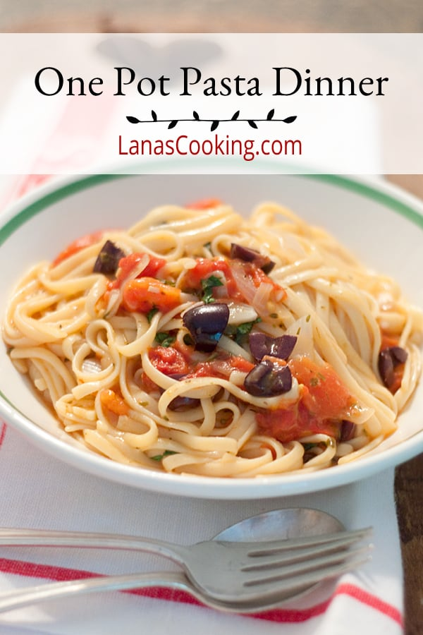 A one pot pasta dinner - just dump everything in one pot and 10 minutes later, dinner! https://www.lanascooking.com/one-pot-pasta-dinner/