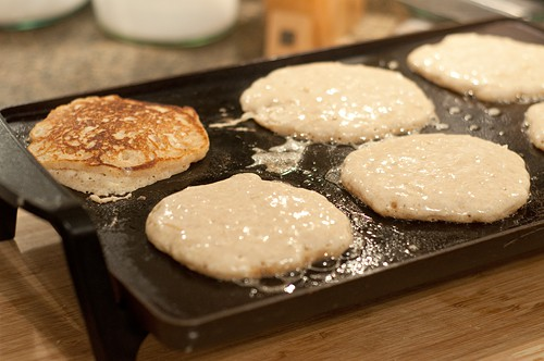 Cooking Spiced Pear Pancakes