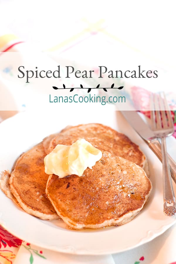 Spiced Pear Pancakes - a whole wheat pancake batter with grated fresh pear spiced with cardamom and ginger. Perfect for the weekend. From @NevrEnoughThyme https://www.lanascooking.com/spiced-pear-pancakes/