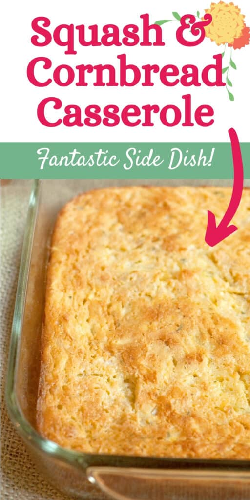 Baked squash and cornbread casserole in a baking dish.