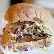 Asian Style Barbecue Chicken Sandwich - chicken breasts are marinated with Asian flavors, then grilled and topped with an Asian style coleslaw. https://www.lanascooking.com/asian-style-barbecue-chicken-sandwich/